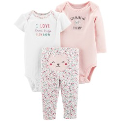Carter's Baby Girls 3-Pc. Cotton Bodysuits & Pants Set