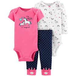 Carter's Baby Girls 3-Pc. Unicorn Bodysuits & Pants Set