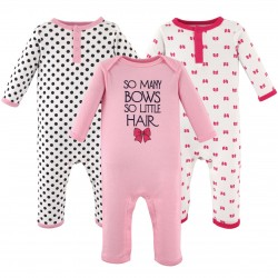 Hudson Baby Girl Union Suits/Coveralls, 3-Pack, So Many Bows