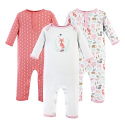 Hudson Baby Girl Union Suits/Coveralls, 3-Pack, Woodland Fox