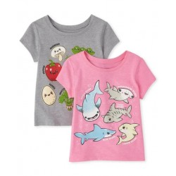 Baby And Toddler Girls Queen Graphic Tee 2-Pack