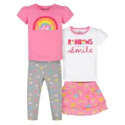 Gerber Baby Girls T-Shirts, Skort & Leggings, 4pc Outfit Set - Rainbow
