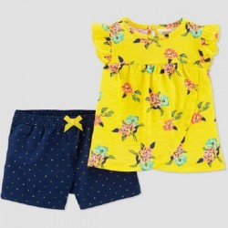 Baby Girls' 2pc Floral Top & Bottom Set - Just One You made by Carter's - Yellow