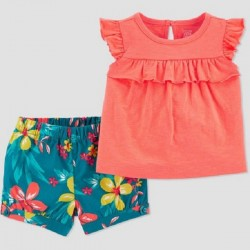 Baby Girls' 2pc Floral Top & Bottom Set - Just One You made by Carter's - Coral