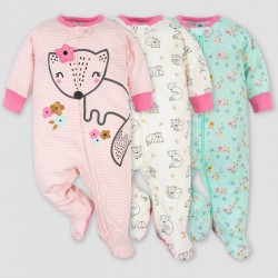 Gerber Baby Girls' 3pk Fox Zip-Front Sleep N' Play - Pink