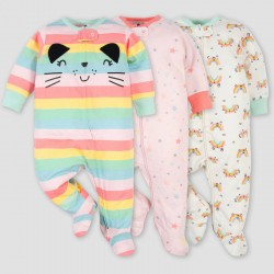 Gerber Baby Girls' 3pk Rainbow Zip-Front Sleep N' Play
