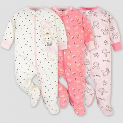 Gerber Baby Girls' 3pk Ballerina Zip-Front Sleep N' Play - Pink