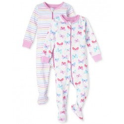 Baby Girl Butterfly Snug Fit Cotton One Piece Pajamas 2-Pack