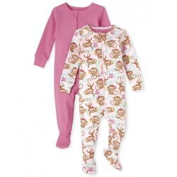 Baby Girl Monkey Snug Fit Cotton One Piece Pajamas 2-Pack