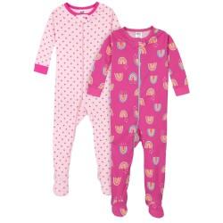 Gerber 2-Pack Girls Rainbows Snug Fit Footed Cotton Pajamas