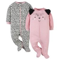 Gerber Baby-Girls' 2-Pack Leopard Sleep 'n Play
