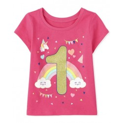 Baby And Toddler Girls Birthday 1 Graphic Tee