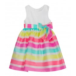 Rare Editions Girls Sleeveless Stripe Organza Dress