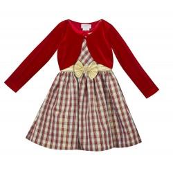 Rare Editions Girls 4-6x Burgundy Gold Plaid Cardigan Dress