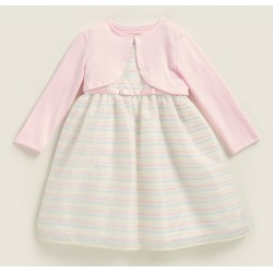 Purple Rose Two-Piece Pastel Stripe Dress & Cardigan Set