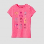 Girls' Short Sleeve Stylish Llamas Graphic T-Shirt - Cat & Jack Pink