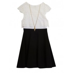 Rare Editions Popover Lace Dress and Necklace Set - Girls