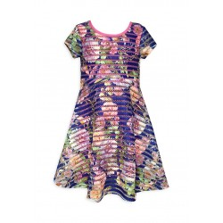 Bonnie Jean Novelty Stripe Floral Dress Girls  Sz 14