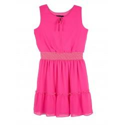 Amy Byer Girls Sleeveless Smocked Waist Gauze Dress - Pink