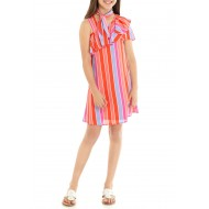 Girl's One Shoulder Stripe Colorful  Dress