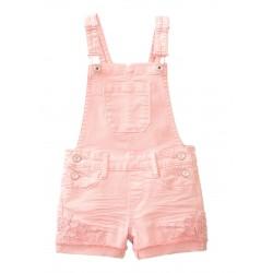 Girls Pink Denim Shortall with Crochet Hem By True Craft