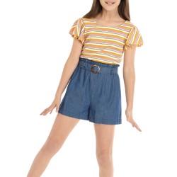 SEQUIN HEARTS girls Girls 7-16 Multi Stripe Denim Short Romper