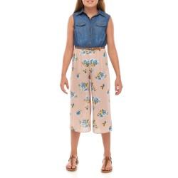 Beautees Girls 7-16 Sleeveless Chambray Boyfriend Jumpsuit