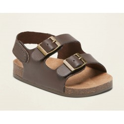 Old Navy Faux-Leather Double-Buckle Sandals for Baby - Brown