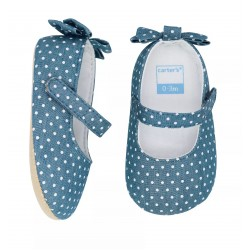 Carter's Chambray Bow Maryjane Crib Shoes - Baby Girls