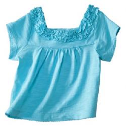 Cherokee Ruffled Neck Baby Girl Top Blue