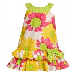 Ashley Ann Baby  Girls' Floral  Sleeveless Tiered Daisy Dress - 18 months